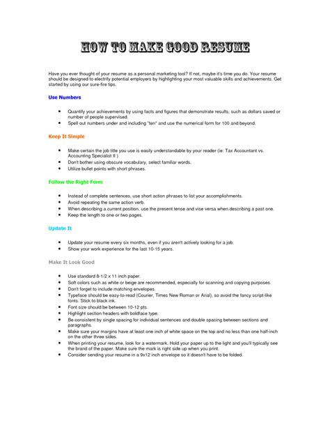 How To Make A Resume For how to make a resume resume cv