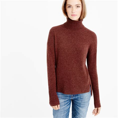 16689 Brown Turtle Neck Sweater womens ribbed turtleneck sweater brown sweater jacket