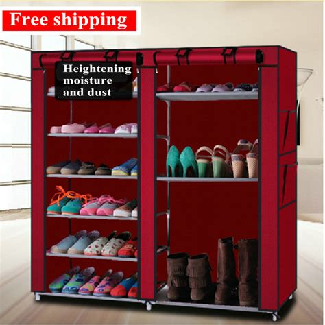 Murah Shoes Organizer shoe rack dresser rack a single row of 10 layers 9 grid simple shoe thick dust mult design