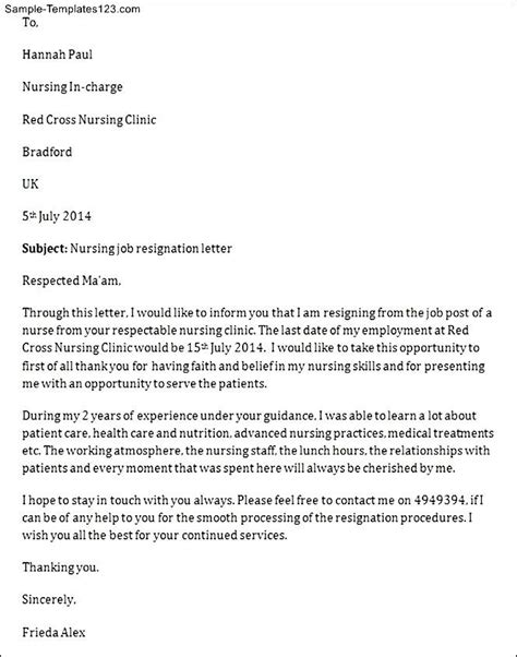 Resignation Letter For Nurses With Personal Reason Nursing Resignation Letter Sle Templates