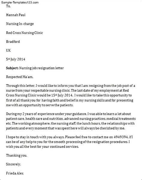nursing job resignation letter sample templates sample