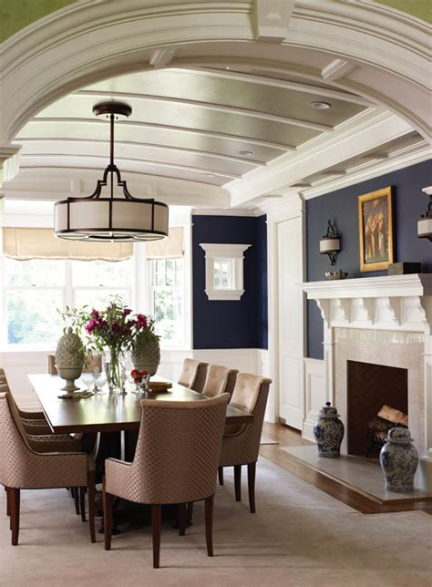 Deep Blue Walls And A Barrel Vaulted Ceiling With Painting Vaulted Ceilings