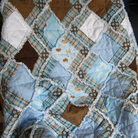 Rag Quilt Pattern Baby by Baby Boy Rag Quilt With Pieced Squares In Blue And Brown