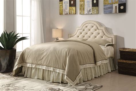 upholstered tufted bed coaster ojai upholstered button tufted headboard in beige