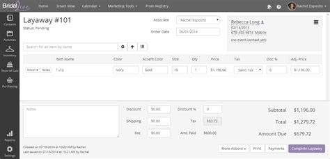 layaway payment receipt templates bridallive 1 bridal shop software
