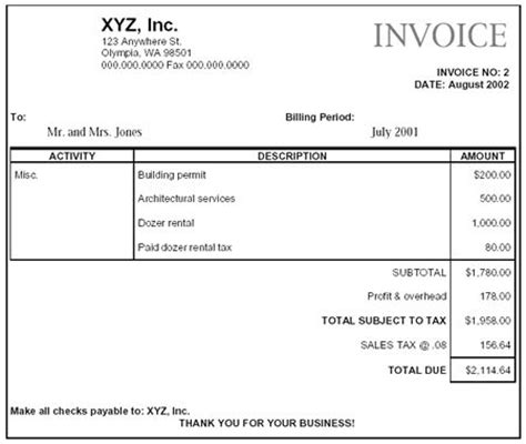 Concrete Work Receipt Template by Construction Company Invoice Exles Paying Retail