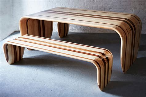 designboom benches duffy london s table bench use surfboard making techniques