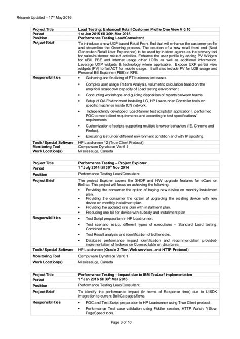 software test engineer resume sle performance test engineer sle resume 18 manual tester