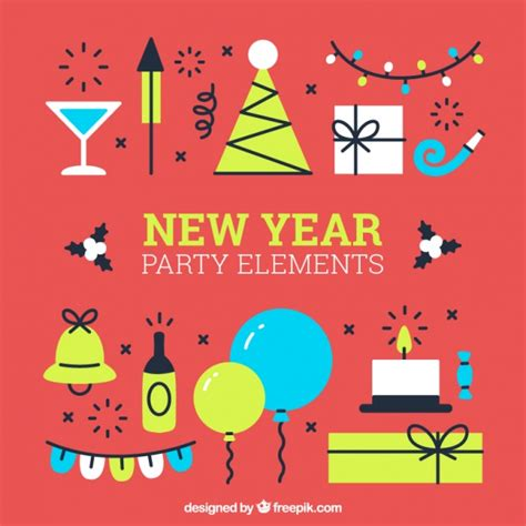 new year elements set of new year elements in flat design vector
