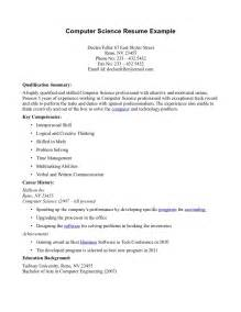 Computer Science Resume Exle by Computer Science Resume Template