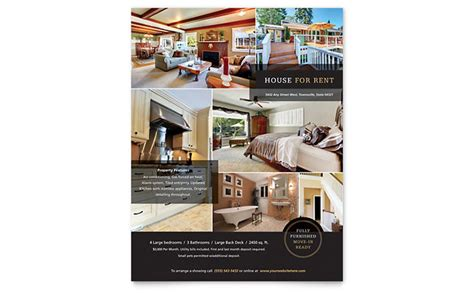 house for rent flyer template design