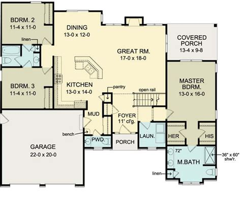 house plans with garage in basement first floor plan of ranch house plan 54066 move garage