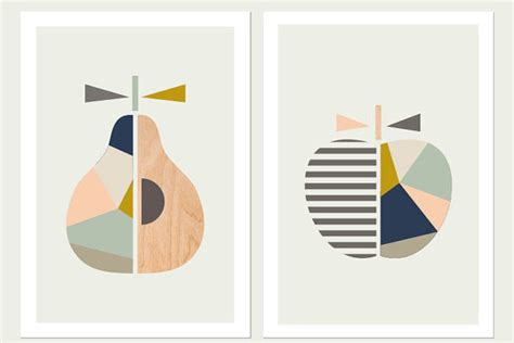 Scandinavian Inspired Furniture apple pear printspink and blueseries of two scandinavian