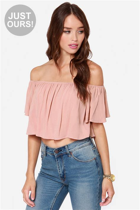 Shoulder Tank Blouse Pink crop top blush crop top sleeve top 36 00