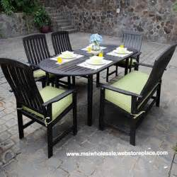 Outdoor dining table set teak patio furniture dark brown wood w chairs