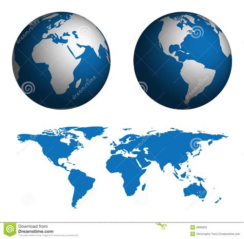 globe maps of the world globe and map of the world stock photos image 4893353