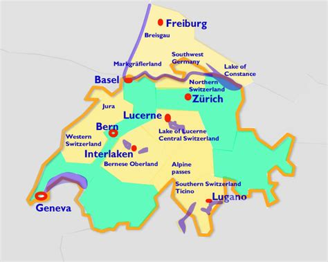 map of southern germany and switzerland videotour travel regions