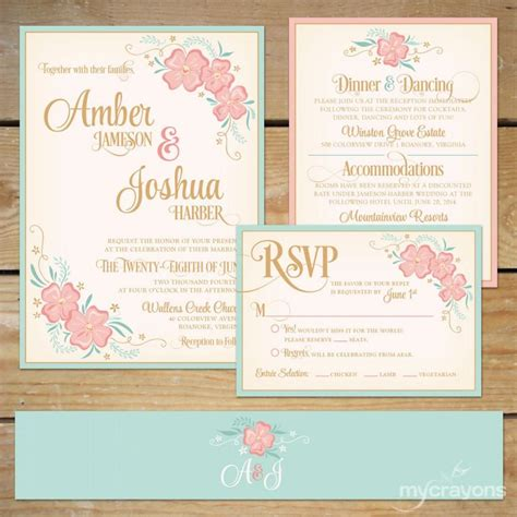 printable floral wedding invitation suite diy wedding