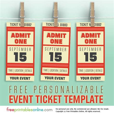 free personalized event ticket template free printables