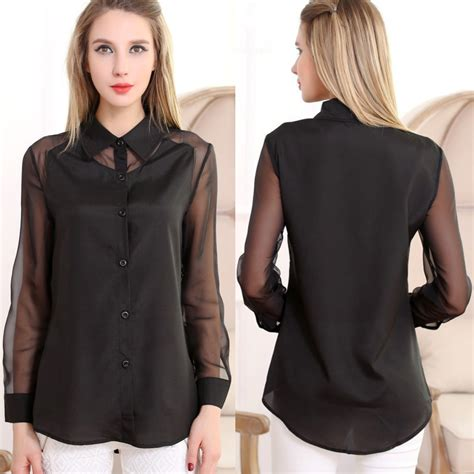Pied Piper Blk sleeved blouse collar blouses