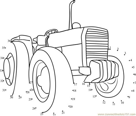 tractor coloring page pdf connect the dots farming tractor transporation gt tractor