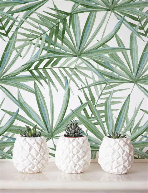 wohnzimmer jungle watercolor palm leaf pattern wallpaper removable wallpaper