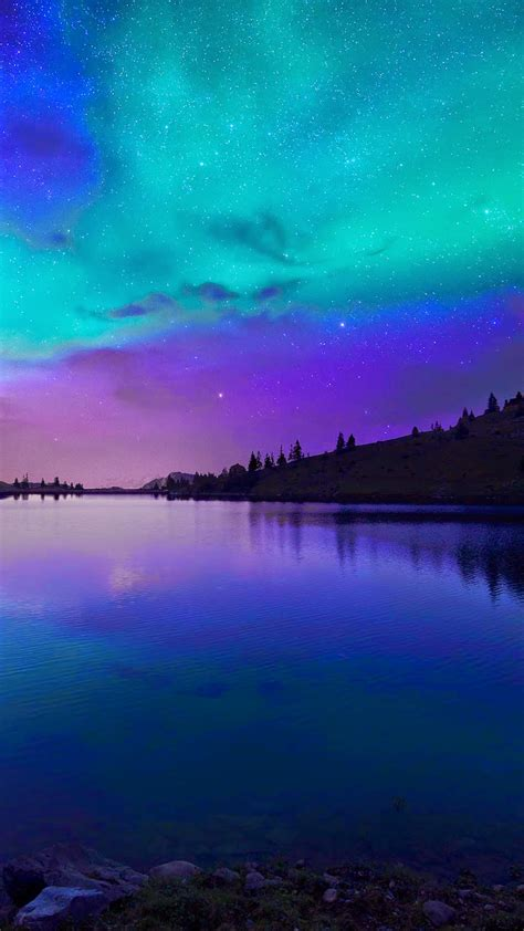 wallpaper iphone 6 fall iphone 6 6 plus wallpaper night fall at lake aurora