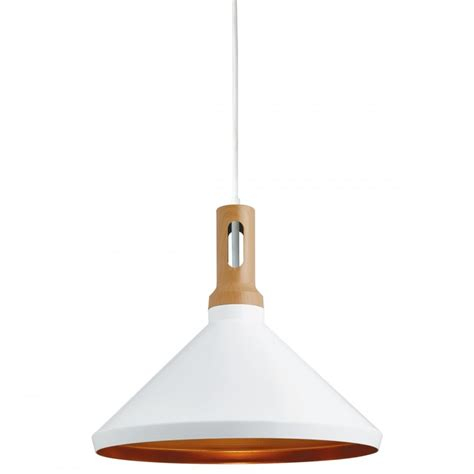Modern White Pendant Light Contemporary White Ceiling Pendant With Gold Inner And Wooden Accent