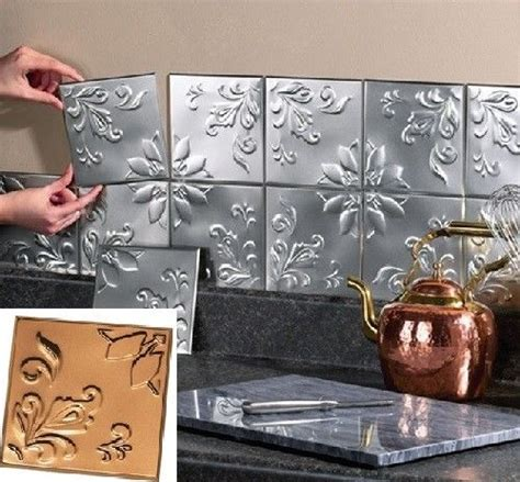 peel and stick kitchen backsplash tiles metal tin silver copper peel and stick kitchen backsplash