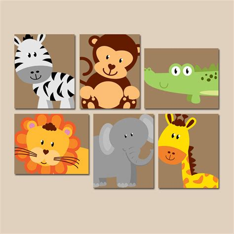 Zoo Animal Nursery Decor Safari Animal Wall Animal Nursery Artwork Zoo Jungle