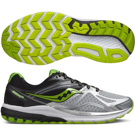 saucony ride shoes saucony ride 9 mens running shoes silver start fitness