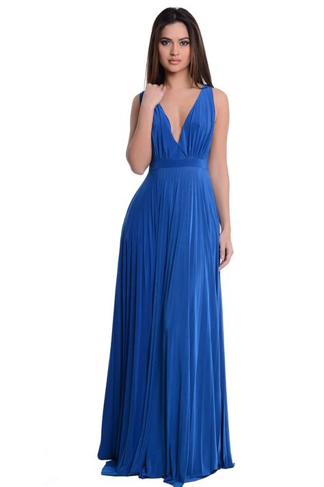 Caroline Dress Maxi caroline plunge neck maxi dress in royal blue