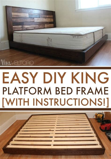 easy diy platform bed frame   king bed