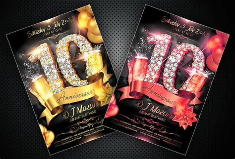 free anniversary flyer psd template and facebook cover