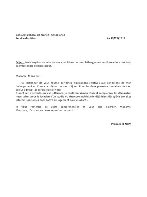 Exemple De Lettre Explicative Pour Visa Modele Certificat Hebergement Visa Senegal Document