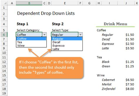 how to create dependent drop down lists excel cus