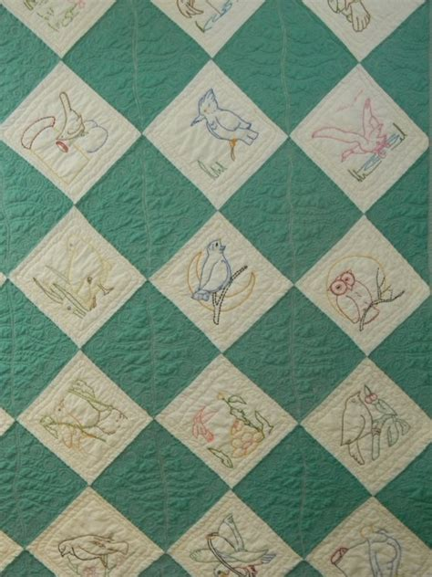 vintage embroidered quilt top with custom quilting new