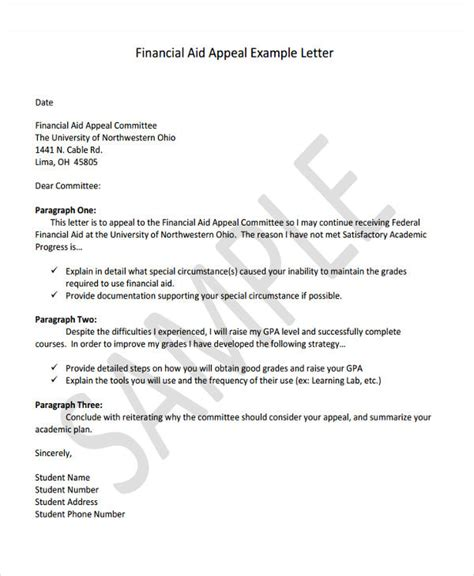 Financial Aid Appeal Letter Reasons 6 Financial Letter Templates 6 Free Sle Exle Format Free Premium Templates