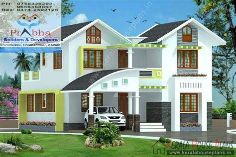 Elegant Bed Room Kerala Model House Car Porch Foyer Home Design Pictures