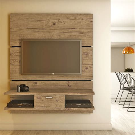 wall tv cabinet furniture natural polished walnut hardwood wall mounted
