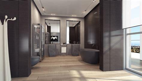 Designing Your Apartment 4 open plan black bathroom suite interior design ideas