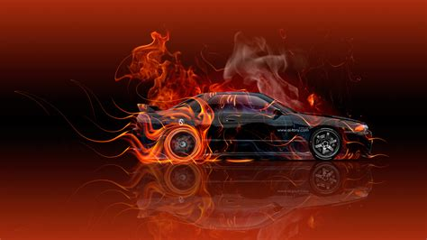 red orange cars 171 nissan skyline gtr r32 jdm fire abstract car 2016