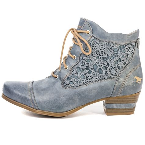 mustang 1187501 womens ankle boots in sky blue