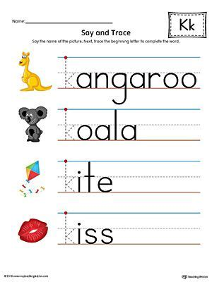 color that starts with the letter k say and trace letter k beginning sound words worksheet