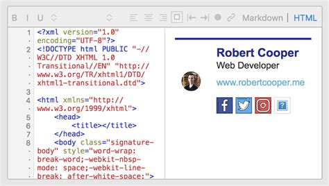 Creating Slick Email Signatures Using Html Css Robert Cooper Medium Html Email Signature Code Template