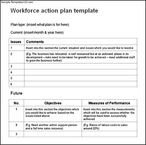 workplace plan template work plan template sle templates