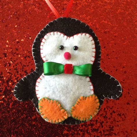 Handmade Felt Ornaments - penguin ornaments set of 3 handmade felt chtistmas colors