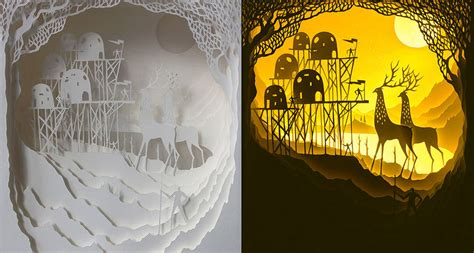 Paper Cut Light Box by Light Box Paper Cut Dioramas Fubiz Media
