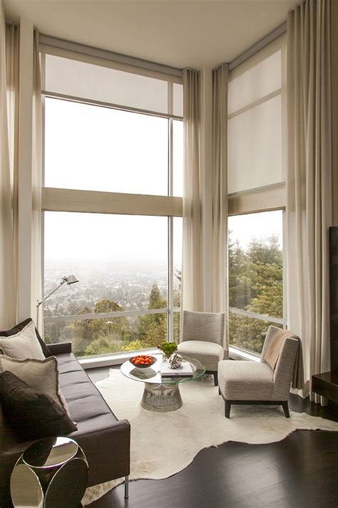 Curtains Corner Windows Ideas Modern Corner Sitting Area Curtain Ideas For Large Windows