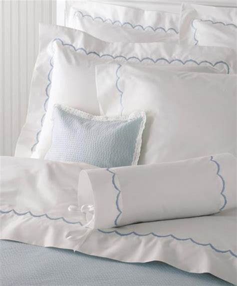 monogrammed bed linens matouk scallop monogrammed sheet collection